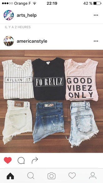 t-shirt english writing summer outfits striped top stripes women t shirts denim shorts black and white