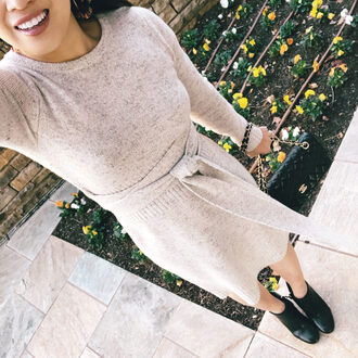 cute & little blogger dress sweater shoes jewels bag fall outfits sweater dress knitted dress ankle boots boots
