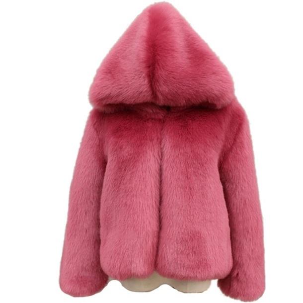 coat faux fur coat faux fur jacket pink hoodie hooded winter coat hooded jacket hooded winter coat