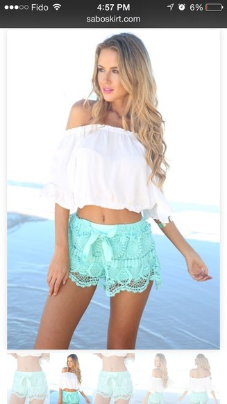 shirt shorts mint shirt, shorts, lace, bows, white, bag, japanese, korean, tights, thigh highs, lace shorts fashion style pretty white dress white lace shorts blouse