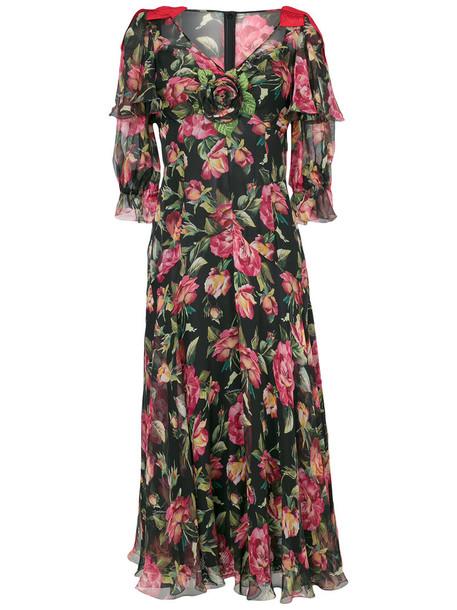 Dolce & Gabbana dress print dress long women spandex floral cotton print silk