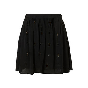 TOPSHOP flippy skater black cross embroidered skirt size 10 - Polyvore