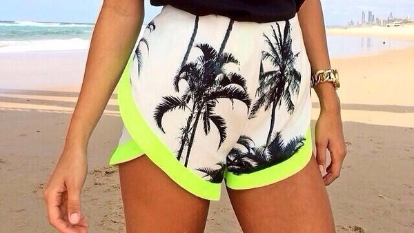 shorts palm tree print lime green color dolphin shorts