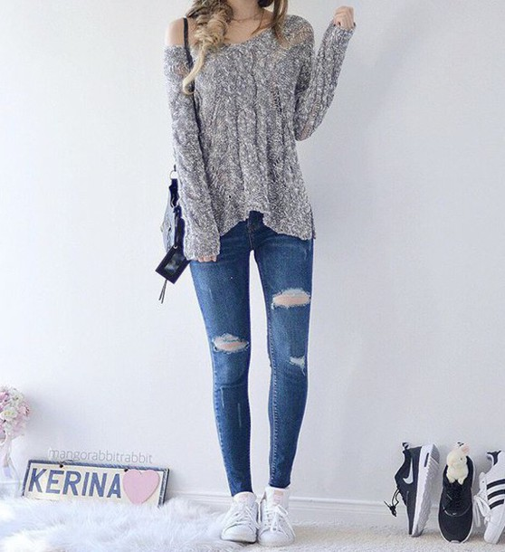 Sweater: grey, grey top, top, jeans, denim, sneakers, white, blue ...