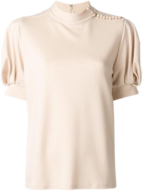 Chloe blouse women nude silk wool top