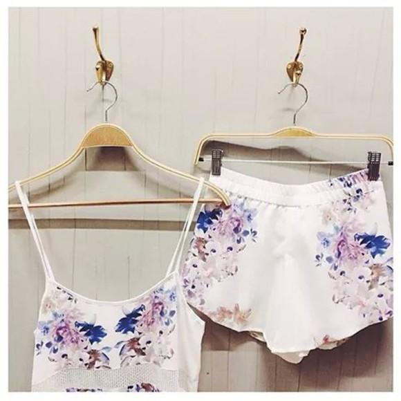 top floral floral shorts floral tank top summer shorts