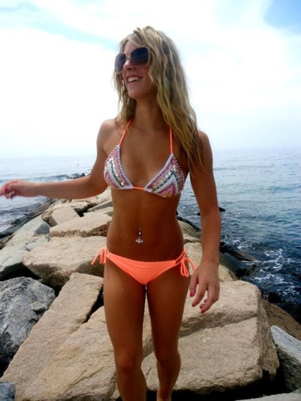 swimwear neon summer bikini orange sequins fluo top sparkle sequins coral wheretoget. Black Bedroom Furniture Sets. Home Design Ideas