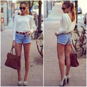 shirt,blue,shorts,summer,white,heels,top,brown,belt,handbag,shoes,t-shirt,white shirt fashion is my drug,jean mini shorts,white summer sweater,bag