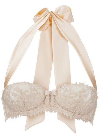 bra bridal lingerie underwear lace bra lace ribbon peach lingerie top wedding white bow beige underwear romantic