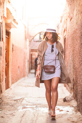 lovely pepa blogger striped dress mini bag beige coat