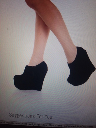 wedgedshoes wedges platform shoes ankle boots black  high heels