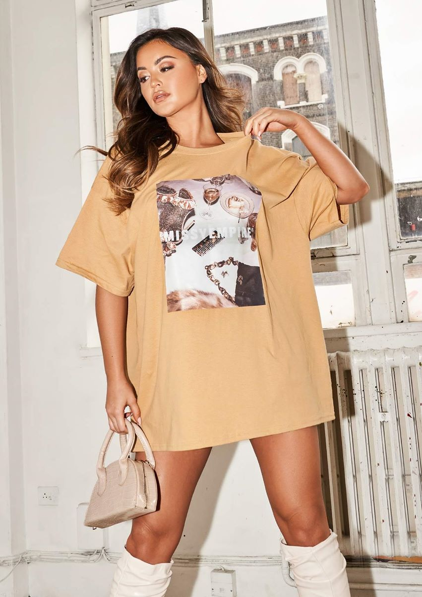 Scarlet Gold Missy Empire Table Graphic Oversized T-Shirt