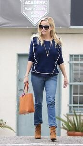sweater,jeans,denim,ankle boots,reese witherspoon,fall outfits,blouse