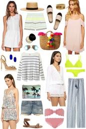 sequins and stripes,blogger,romper,pants,summer outfits,off the shoulder dress,bikini,dress,hat,shorts,shoes,jewels,sunglasses,bag,sweater