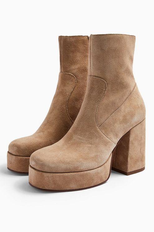 Hogan Leather Sand Platform Boots - Sand