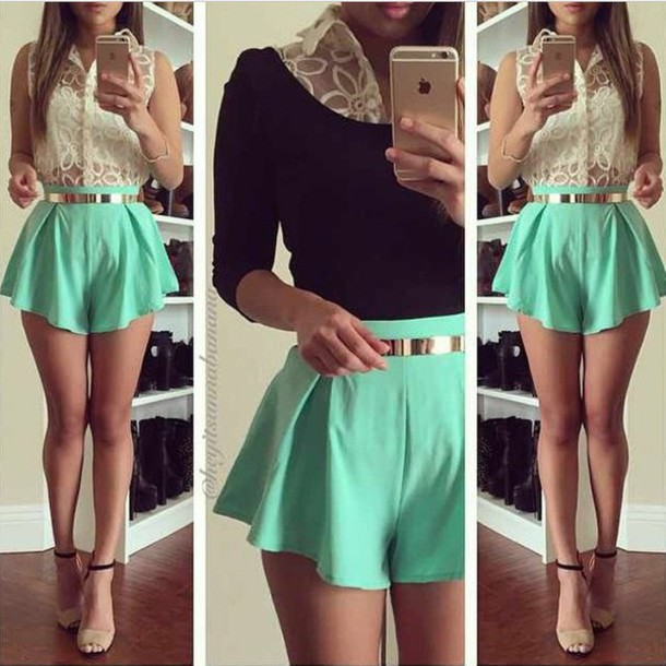 skirt fashion style green skirt girly