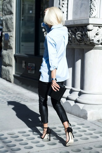 le fashion image blogger sunglasses shirt bag leggings button up leather pants clutch blouse black sandals leather leggings
