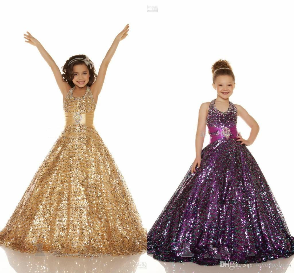 d5eb6882024 2016 Cheap Price Gold Purple Organza Beaded Halter Ball Gown Girl S Pageant  Dresses Shiny Sequins Flower ...