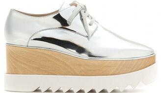 shoes stella mccartney platform shoes flatforms silver shoes cara delevingne kylie jenner