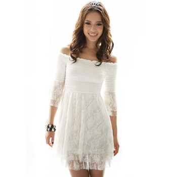 com : Buy 2015 Summer Korean Style White Lace Dresses Off Shoulder ...