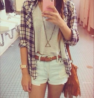 sweater blouse bag jewels shorts belt cut off shorts shirt striped tang top flannel shirt red shirt summer spring style stripes teenagers luv all outfit pants jeans blue blouse t-shirt denim plaid leather brown bag checkered jacket plaid flannel top