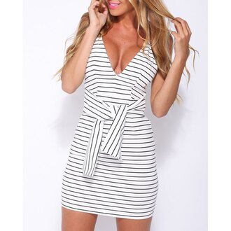 dress stripes white black trendy girly cute spring summer rose wholesale-ma