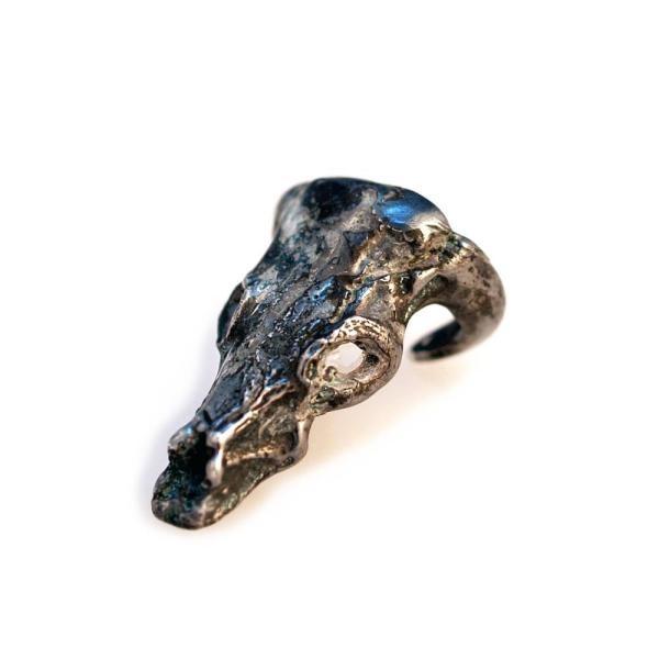 jewels bull skull ring skull bull ring oxidised silver silver