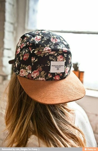 hat floral flowers hippy hipster