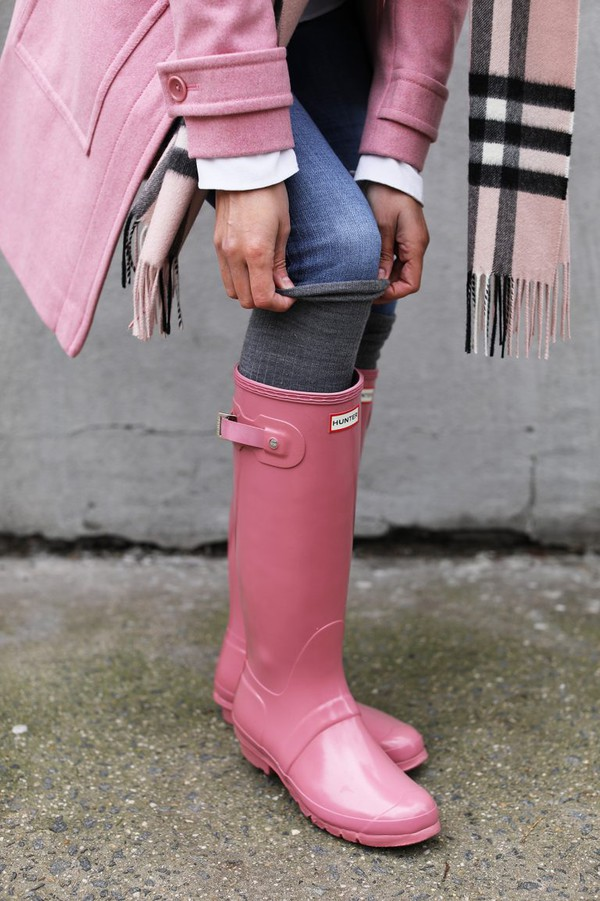 Shoes Tumblr Pink Boots Pink Hunter Boots Socks