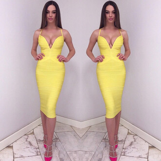 dress overknee bandage dress bandage dress celebrity yellow bandage dress