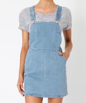 dress pinafore denim dungaree subtitled stripes shirt blue pinafore dress denim dress
