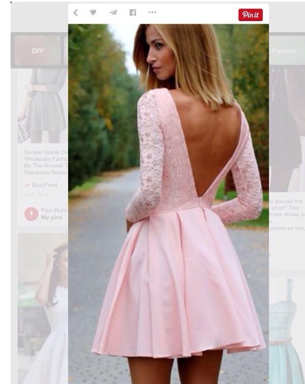 Pink open v back skater dress pink open v back skater dress us 139