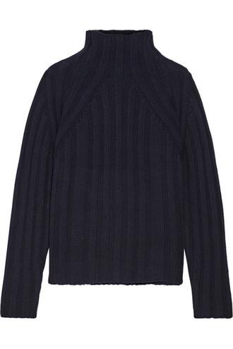 sweater turtleneck turtleneck sweater navy wool