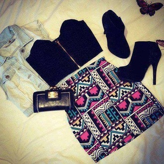 skirt aztec crop tops bandeau aztec print skirt