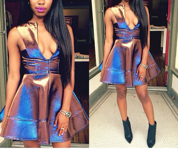 skater dress short dress low front plunge v neck sinched waist v neck dress dress low cut dress Hologram purple shiny material holographic