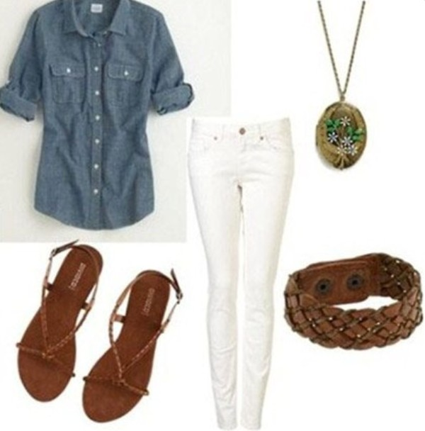 jeans blouse shoes