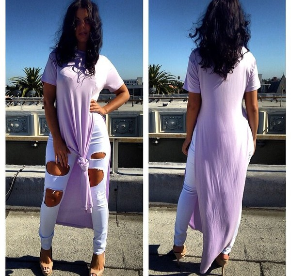 lavender long shirt dress double split shirt