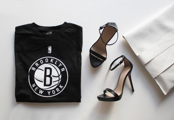 t-shirt t-shirt black t-shirt tank top shoes shirt brooklyn basketball black white