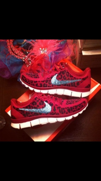shoes red leopard print fashion nike girl love