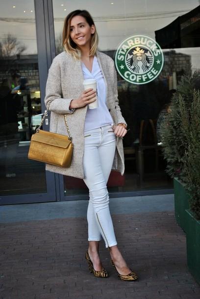 let's talk about fashion ! blogger bag cropped pants fuzzy coat coat shirt jeans shoes jewels