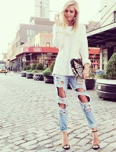 jeans denim pants electric blue jeans white high heels sandals leopard print summer outfits sweater bag shoes