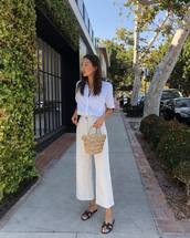 pants,wide-leg pants,top,white top,hoes,shoes,bag
