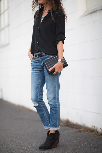 alterations needed blogger shirt jeans bag shoes jewels belt celebrity fall outfits clutch booties black shirt