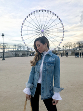my white t,blogger,jacket,blouse,leggings,jewels,bag,revolve clothing,denim jacket,h&m,white blouse,black skinny jeans