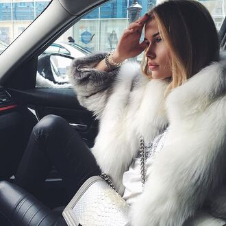 coat tumblr fur coat white coat bag white bag bracelets leggings leather leggings black leggings