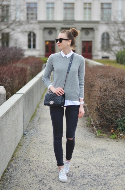 vogue haus blogger shirt sweater jeans shoes bag jewels sunglasses