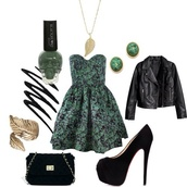 dress,green,floral,jacket,jewels,shoes