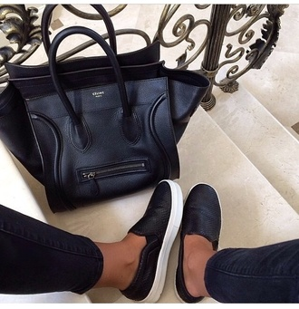 shoes black and white shoes celine bag bag celine black flat white fashion paris