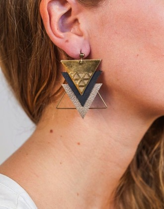 jewels earrings gold gold earrings triangle graphic