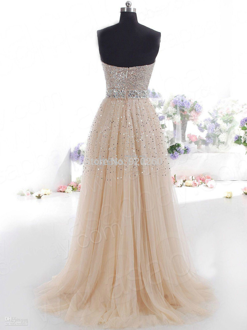sequin collar Picture - More Detailed Picture about Hot Sale Sweetheart Strapless Shining Beaded Sequins Champagne New Arrival Prom Dresses 2014 New Cheap Lace Up vestido de festa Picture in Prom Dresses from The beautiful princess wedding dresses | Aliexpress.com | Alibaba Group